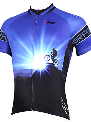 cheap Men's Polos-21Grams Men's Short Sleeve Cycling Jersey Polyester Purple Yellow Red Bike Jersey Top Mountain Bike MTB Road Bike Cycling Breathable Quick Dry Ultraviolet Resistant Sports Clothing Apparel / Stretchy
