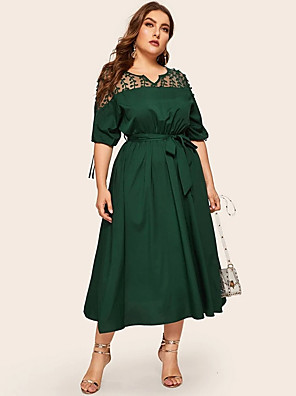 cheap Plus Size Dresses-Women's Sheath Dress Maxi long Dress - 3/4 Length Sleeve Solid Color Mesh Patchwork Summer Casual Daily 2020 Dusty Rose Green L XL XXL XXXL XXXXL