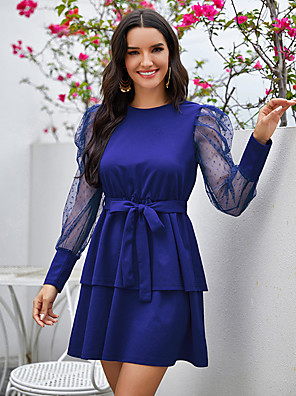 cheap Cocktail Dresses-A-Line Vintage Sexy Homecoming Cocktail Party Dress Jewel Neck Long Sleeve Short / Mini Spandex with Bow(s) 2020
