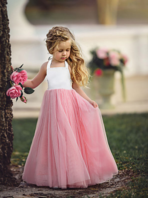 cheap Baby Girls' One-Piece-Kids Girls' Flower Basic Party Quinceanera Wedding Party Dusty Rose Solid Colored Sleeveless Maxi Dress Purple