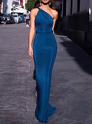 cheap Evening Dresses-Mermaid / Trumpet Minimalist Sexy Engagement Formal Evening Dress One Shoulder Sleeveless Sweep / Brush Train Spandex with Sleek 2020