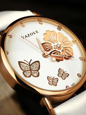 cheap Quartz Watches-YAZOLE Women's Sport Watch Quartz Butterly Style Stylish Flower Water Resistant / Waterproof Cubic Zirconia Black / White / Red Analog - Golden / Brown White / Black White+Red