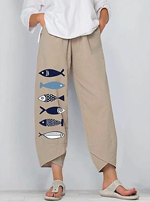 cheap Women's Blouses & Shirts-Women's Basic Daily Wide Leg Pants Print Print Comfort Khaki M L XL