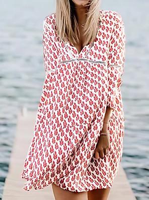 cheap Print Dresses-Women's A-Line Dress Knee Length Dress - 3/4 Length Sleeve Floral Summer Boho 2020 Red S M L XL XXL XXXL