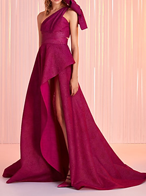 cheap Evening Dresses-A-Line Minimalist Sexy Wedding Guest Formal Evening Dress One Shoulder Sleeveless Sweep / Brush Train Satin with Bow(s) Pleats Split 2020