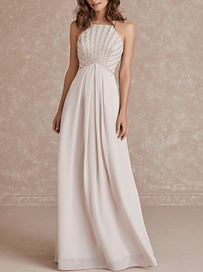cheap Bridesmaid Dresses-A-Line Spaghetti Strap Floor Length Chiffon Bridesmaid Dress with Pleats