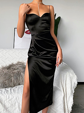 cheap Party Dresses-Women's Strap Dress Midi Dress - Sleeveless Solid Color Split Patchwork Spring Strapless Sexy Party Club Cotton Slim 2020 Black Red S M L