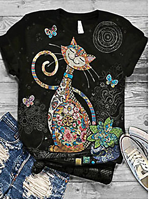 cheap Women's Blouses & Shirts-Women's T-shirt Cat Print Round Neck Tops Basic Basic Top Black