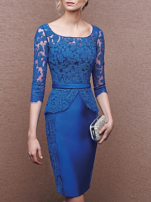cheap Evening Dresses-Sheath / Column Mother of the Bride Dress Elegant Jewel Neck Knee Length Lace Satin Half Sleeve with Appliques 2020