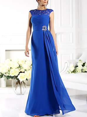 cheap Bridesmaid Dresses-A-Line Mother of the Bride Dress Elegant Jewel Neck Floor Length Chiffon Lace Sleeveless with Sash / Ribbon Split Front Ruching 2020