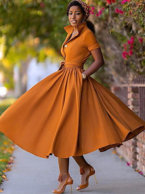 cheap Party Dresses-Women's A-Line Dress Midi Dress - Half Sleeve Split Summer Fall V Neck Sexy Daily Vacation 2020 Army Green Orange S M L XL