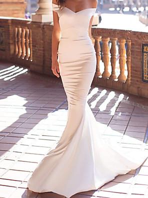 cheap Evening Dresses-Mermaid / Trumpet Beautiful Back Sexy Engagement Formal Evening Dress Off Shoulder Sleeveless Court Train Satin with Sleek 2020