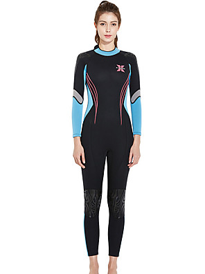 cheap Wetsuits, Diving Suits & Rash Guard Shirts-Dive&Sail Women's Full Wetsuit 3mm SCR Neoprene Diving Suit Thermal / Warm Long Sleeve Front Zip - Diving Water Sports Solid Colored Autumn / Fall Spring Summer / Micro-elastic / Athletic