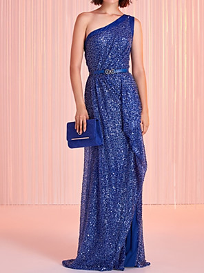 cheap Evening Dresses-Sheath / Column Beautiful Back Sexy Party Wear Formal Evening Dress One Shoulder Sleeveless Sweep / Brush Train Sequined with Sash / Ribbon Sequin 2020