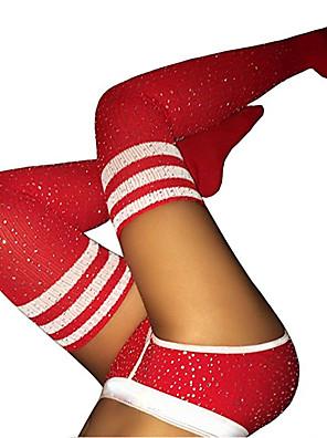 cheap Socks & Hosiery-Women's Warm Stockings - Striped / Sexy Lady / Christmas 200D White Black Red One-Size