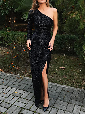 cheap Evening Dresses-Sheath / Column Sexy Sparkle Party Wear Formal Evening Dress One Shoulder Long Sleeve Floor Length Sequined with Sequin Split 2020