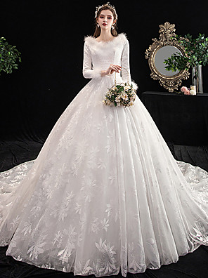 cheap Wedding Dresses-Ball Gown Wedding Dresses V Neck Cathedral Train Lace Long Sleeve Formal Elegant with 2020