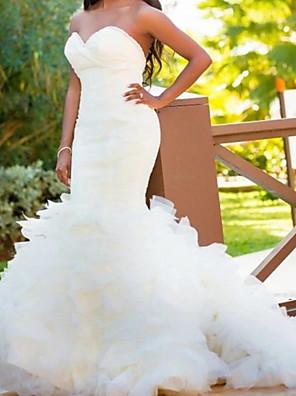 cheap Evening Dresses-Mermaid / Trumpet Wedding Dresses Sweetheart Neckline Court Train Organza Satin Sleeveless Country with Cascading Ruffles 2020