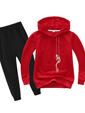 cheap Boys' Tops-Kids Boys' Basic Holiday Daily Wear Vacation Print Print Long Sleeve Regular Regular Clothing Set Red