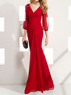 cheap Evening Dresses-A-Line Mother of the Bride Dress Elegant V Neck Floor Length Chiffon 3/4 Length Sleeve with Pleats 2020