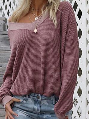 cheap Women's Tops-Women's Pullover Sweatshirt Solid Colored V Neck Streetwear Hoodies Sweatshirts  Loose White Black Purple
