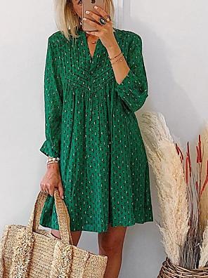 cheap Women's Dresses-Women's Shift Dress Knee Length Dress - Half Sleeve Print Print Summer Casual Daily 2020 Green S M L XL XXL