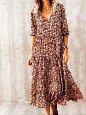 Χαμηλού Κόστους Μίνι Φορέματα-Γυναικεία Φόρεμα ριχτό από τη μέση και κάτω Μίντι φόρεμα - Μακρυμάνικο Στάμπα Στάμπα Καλοκαίρι Λαιμόκοψη V Καθημερινό Μπόχο Καθημερινά Διακοπές Φαρδιά 2020 Καφέ Τ M L XL XXL XXXL