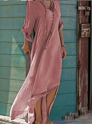 cheap Mini Dresses-Women's Sundress Maxi long Dress - Long Sleeve Solid Color Split Summer V Neck Casual Holiday Weekend Loose 2020 Blushing Pink Khaki Light Blue S M L XL XXL