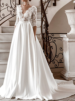 cheap Wedding Dresses-A-Line Wedding Dresses V Neck Sweep / Brush Train Lace Satin Half Sleeve Formal with 2020