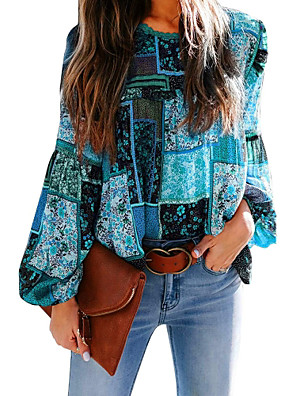 cheap Women's Blouses & Shirts-Women's Blouse Shirt Graphic Prints Long Sleeve Print Round Neck Tops Loose Basic Boho Basic Top Blue Wine Fuchsia