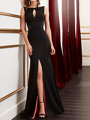 cheap Cocktail Dresses-Sheath / Column Mother of the Bride Dress Elegant Jewel Neck Floor Length Jersey Sleeveless with Split Front 2020