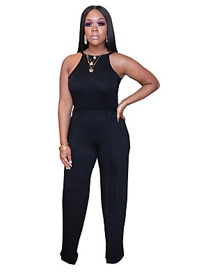 cheap Prom Dresses-Jumpsuits Elegant Minimalist Holiday Party Wear Dress Halter Neck Sleeveless Floor Length Spandex with Sash / Ribbon 2020