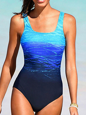 cheap Bikinis-Women's Vintage Style Casual / Sporty One-piece Swimsuit Backless Color Block Color Block Halter Neck Swimwear Bathing Suits Black Blue Purple Blushing Pink / Padded Bras