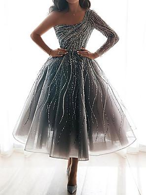 cheap Print Dresses-Women's A-Line Dress Maxi long Dress - Long Sleeve Solid Color Print Summer Elegant Daily 2020 Silver S M L XL