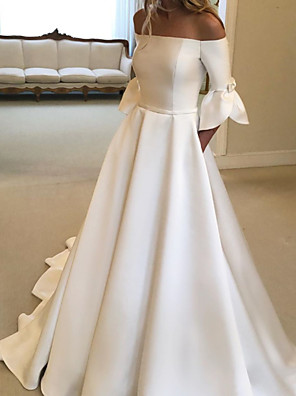 cheap Prom Dresses-A-Line Wedding Dresses Off Shoulder Court Train Satin Half Sleeve Simple with Bow(s) Pleats 2020