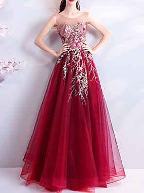 cheap Evening Dresses-A-Line Elegant Sexy Wedding Guest Formal Evening Dress Jewel Neck Sleeveless Floor Length Tulle with Beading Sequin Appliques 2020