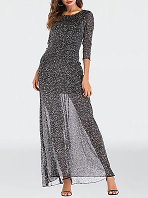 Χαμηλού Κόστους Μίνι Φορέματα-Γυναικεία Φόρεμα σε γραμμή Α Μακρύ φόρεμα - 3/4 Μήκος Μανικιού Συμπαγές Χρώμα Δίχτυ Patchwork Καλοκαίρι Σέξι Πάρτι Κλαμπ 2020 Μαύρο Τ M L XL XXL