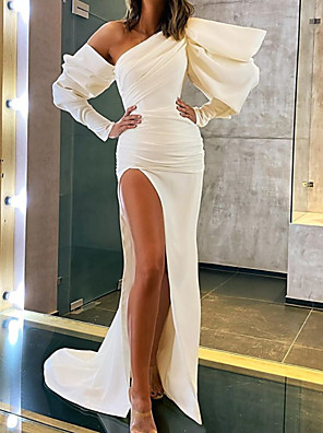 cheap Cocktail Dresses-A-Line Minimalist Sexy Party Wear Formal Evening Dress One Shoulder Long Sleeve Court Train Stretch Satin with Split 2020