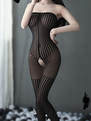cheap Panties-Women's Mesh Bodysuits Nightwear Striped Solid Colored Black One-Size