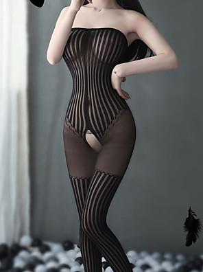 cheap Socks & Hosiery-Women's Mesh Bodysuits Nightwear Striped Solid Colored Black One-Size