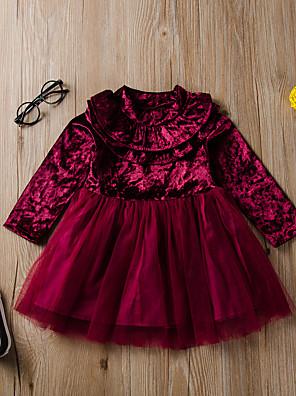 baratos Vestidos para Meninas-Infantil Para Meninas Activo Moda de Rua Vermelho Sólido Manga Longa Altura dos Joelhos Vestido Vermelho
