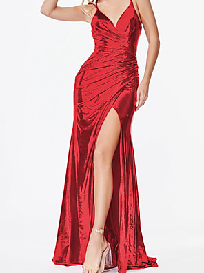 cheap Evening Dresses-Sheath / Column Sexy Sparkle Engagement Prom Dress V Neck Sleeveless Sweep / Brush Train Satin with Ruched Draping Split 2020