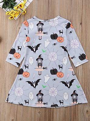 cheap Girls' Dresses-Kids Girls' Basic Cartoon Halloween Long Sleeve Above Knee Dress Gray