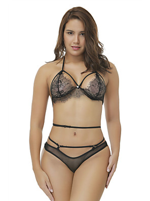 cheap Suits-Women's Lace Mesh Criss Cross Suits Nightwear Solid Colored Embroidered Black S M L