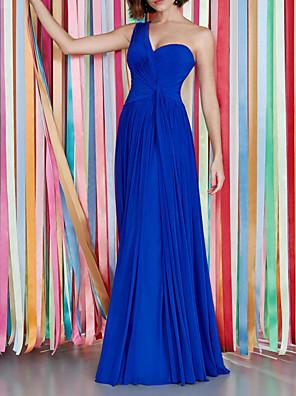 cheap Evening Dresses-A-Line Beautiful Back Sexy Wedding Guest Formal Evening Dress One Shoulder Sleeveless Floor Length Chiffon with Pleats 2020