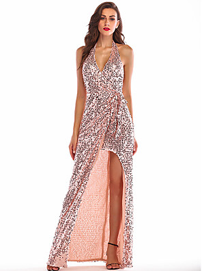 cheap Maxi Dresses-Women's A-Line Dress Maxi long Dress - Sleeveless Solid Color Backless Sequins Split Summer Sexy Party Club 2020 Gold S M L XL