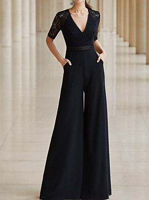 cheap Prom Dresses-Jumpsuits Mother of the Bride Dress Elegant V Neck Floor Length Chiffon Lace Half Sleeve with Pleats 2020
