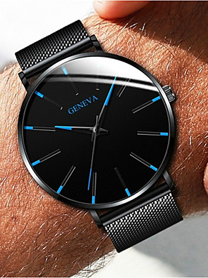 cheap Boys' Tops-Geneva Couple's Dress Watch Quartz Formal Style Mesh Fashion Casual Watch Stainless Steel Black / Silver / Rose Gold Analog - Black / White Black / Blue Rose Gold One Year Battery Life