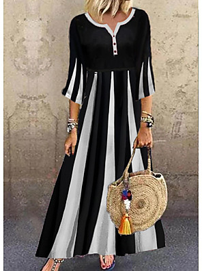 cheap Boys' Tops-Women's A-Line Dress Maxi long Dress - 3/4 Length Sleeve Black & White Color Block Summer V Neck Casual Daily Flare Cuff Sleeve 2020 Black M L XL XXL XXXL