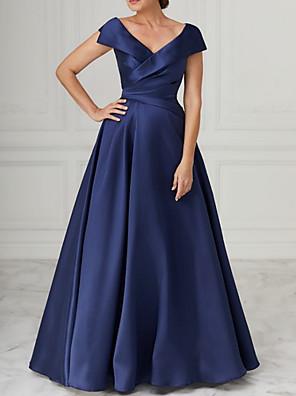cheap Bridesmaid Dresses-A-Line Mother of the Bride Dress Elegant V Neck Floor Length Satin Sleeveless with Pleats 2020